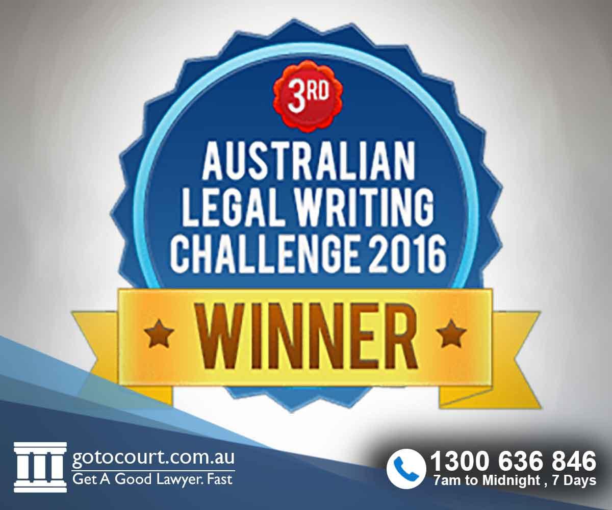 Australian Legal Writing Challenge 2016 Third Prize